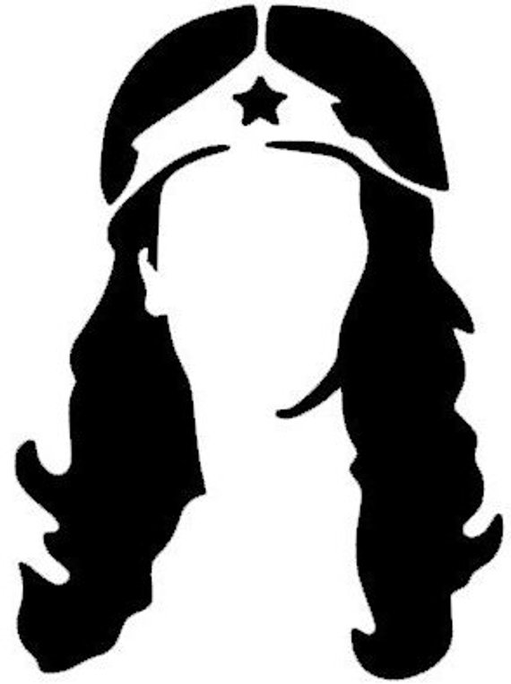 570x762 Wonder Woman Silhouette Head Profile Decal Sticker For Truck