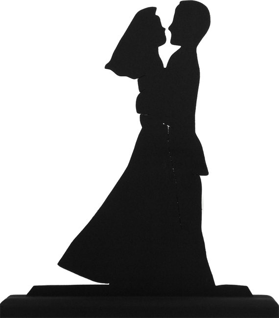 570x651 The Newly Weds Handmade Wood Silhouette Cake Topper Scpl014