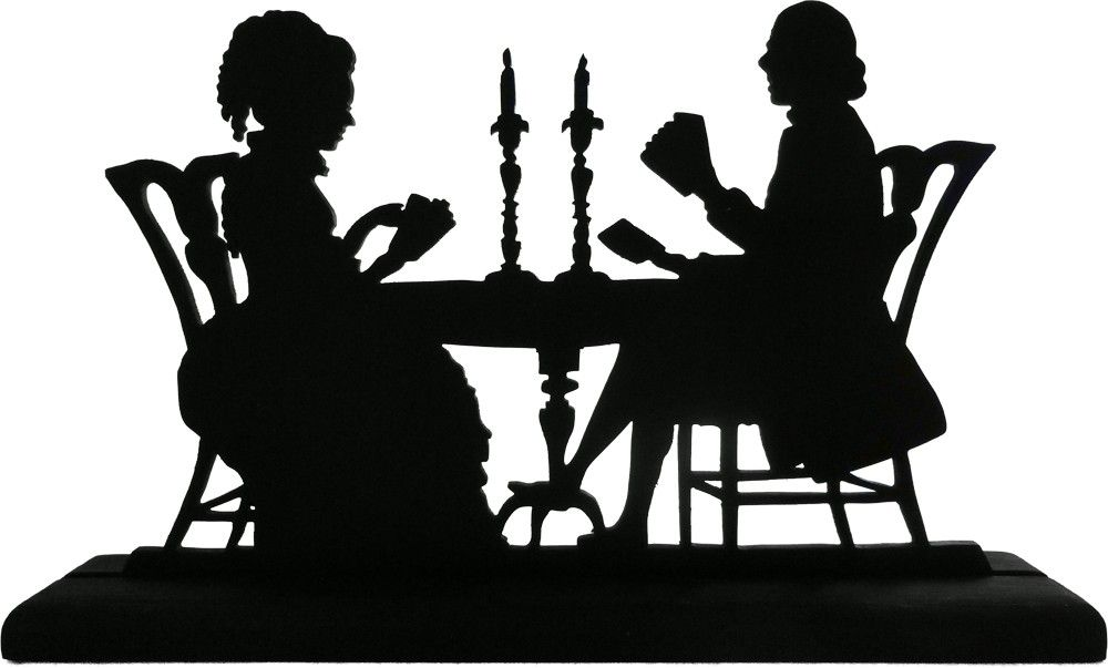 1000x603 Victorian Couple Playing Cards Handmade Decorative Wood Silhouette