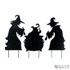 225x225 Halloween Witch Amp 3 Cats, Life Size Wooden Silhouette Cutouts
