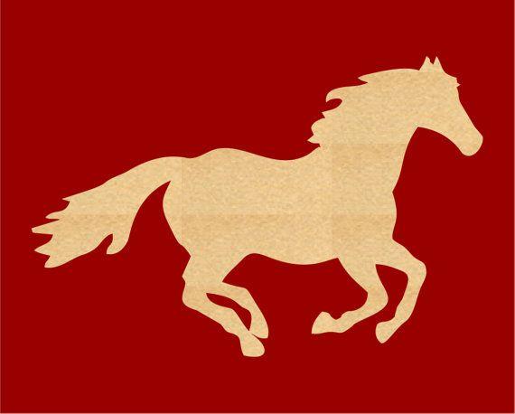 570x458 Running Horse Wood Cutout Shape Laser Cut Crafts, Gift Tags