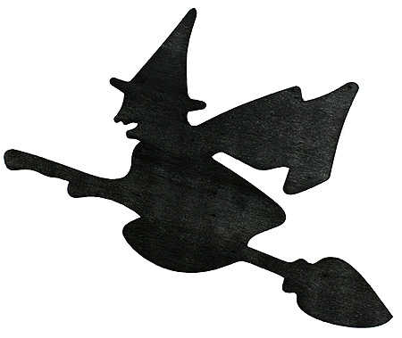 450x379 7 Black Wooden Silouette Flying Witch On Broom