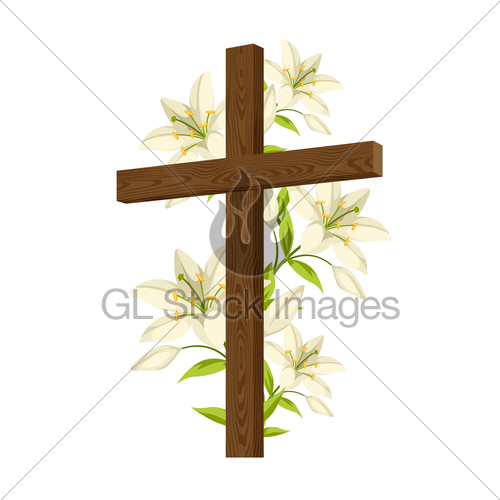 500x500 Silhouette Of Wooden Cross With Lilies. Happy Easter Conc Gl