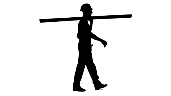 590x332 Silhouette Of Foreman In A Helmet Goes To Work With Wooden Boards