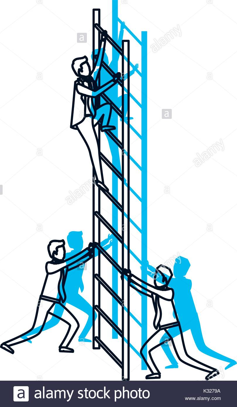 810x1390 Business Men Climbing Wooden Stairs Blue Watercolor Silhouette