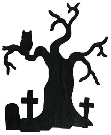 373x450 9 Black Wooden Silhouette Tree With Crosses, And Owl