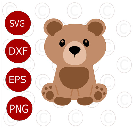 570x544 Baby Bear Svg Cut File, Cute Baby Woodland Animal Svgs, Cut Files