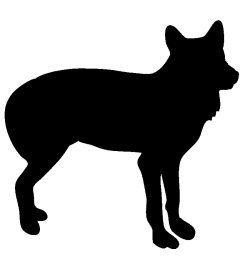 250x264 Black Silhouette Of Wolf Woodland Animal Silhouette