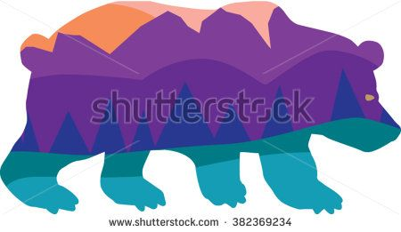 450x261 Bear Silhouette With Woodland Camping Sunset Mountains Wilderness