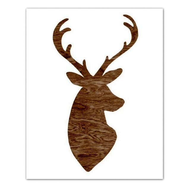 640x640 Dark Chocolate Brown Woodgrain Faux Bois Deer Head Silhouette