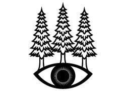 250x182 Woods Eye Boho Template. Pine Tree Silhouette Svg. Mistery Eye