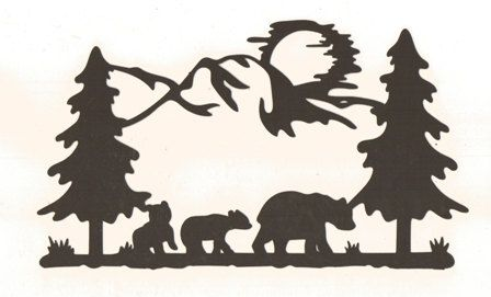 448x271 Bears In The Woods Silhouette By Hilemanhouse On Etsy