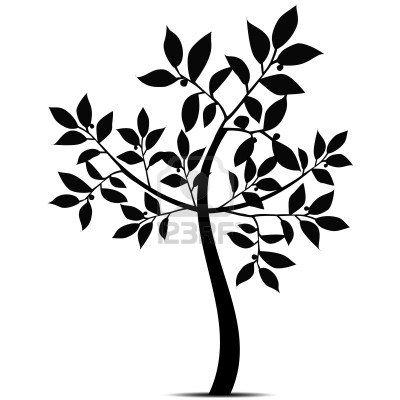 400x400 Beautiful Art Tree Silhouette Isolated On White Background Stock