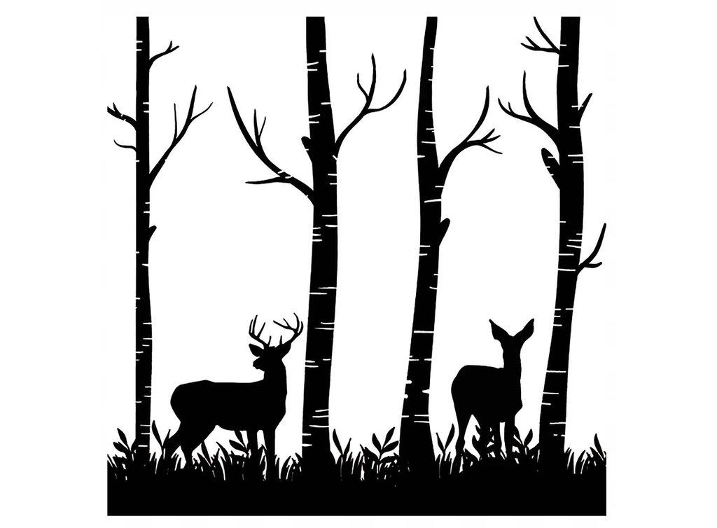1024x754 Deer In Woods 4 Black