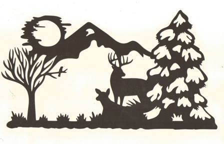 448x288 Deer In The Woods Silhouette Mom's Papercuts