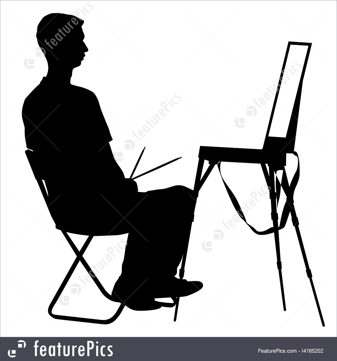 1300x1392 Artist At Work Silhouette Illustration