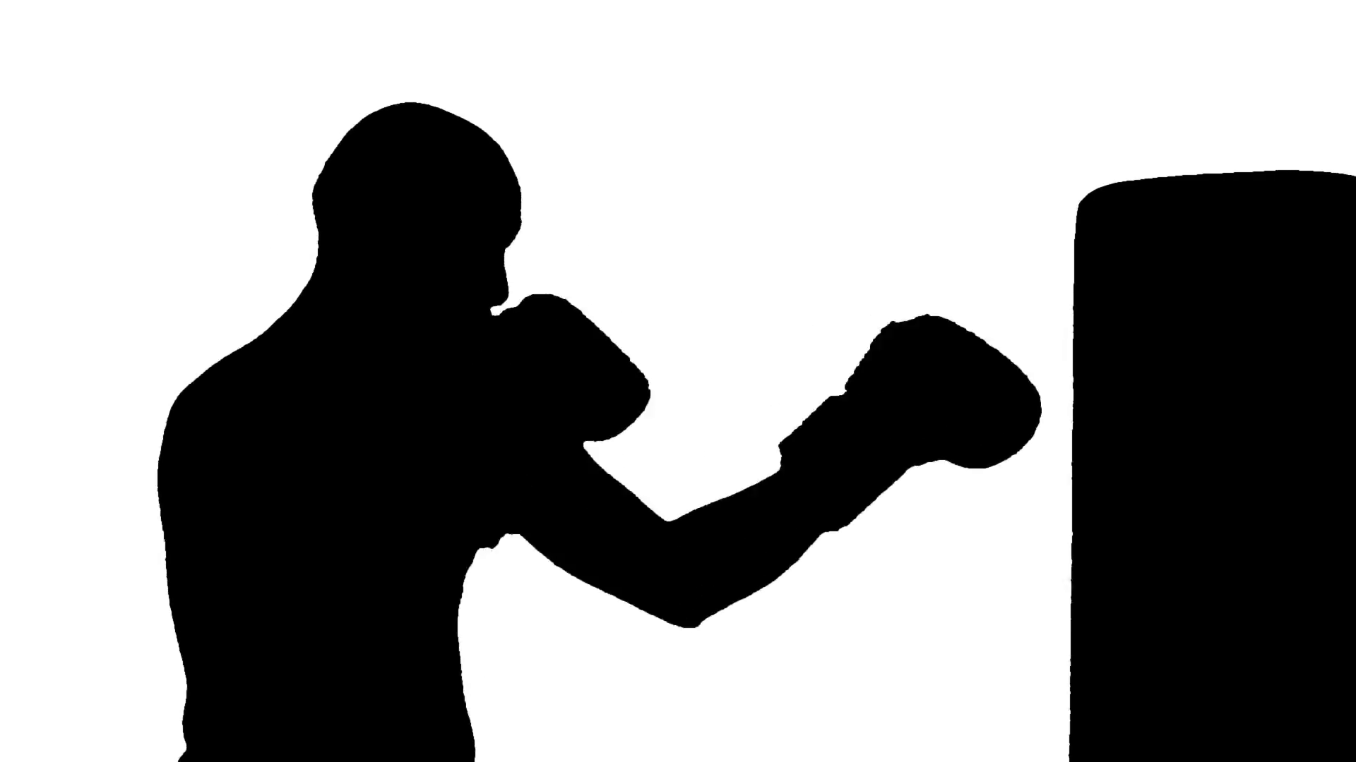 1920x1080 Hd Rotoscoped Silhouette Of Bald Male Boxer Working Out On