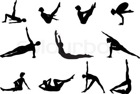 480x322 Pilates Silhouettes Of Working Out And Stretching On The Stock