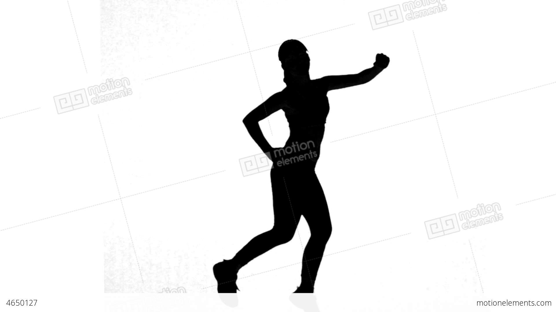1920x1080 Silhouette Of Woman Working Out On White Backgroun Stock Video