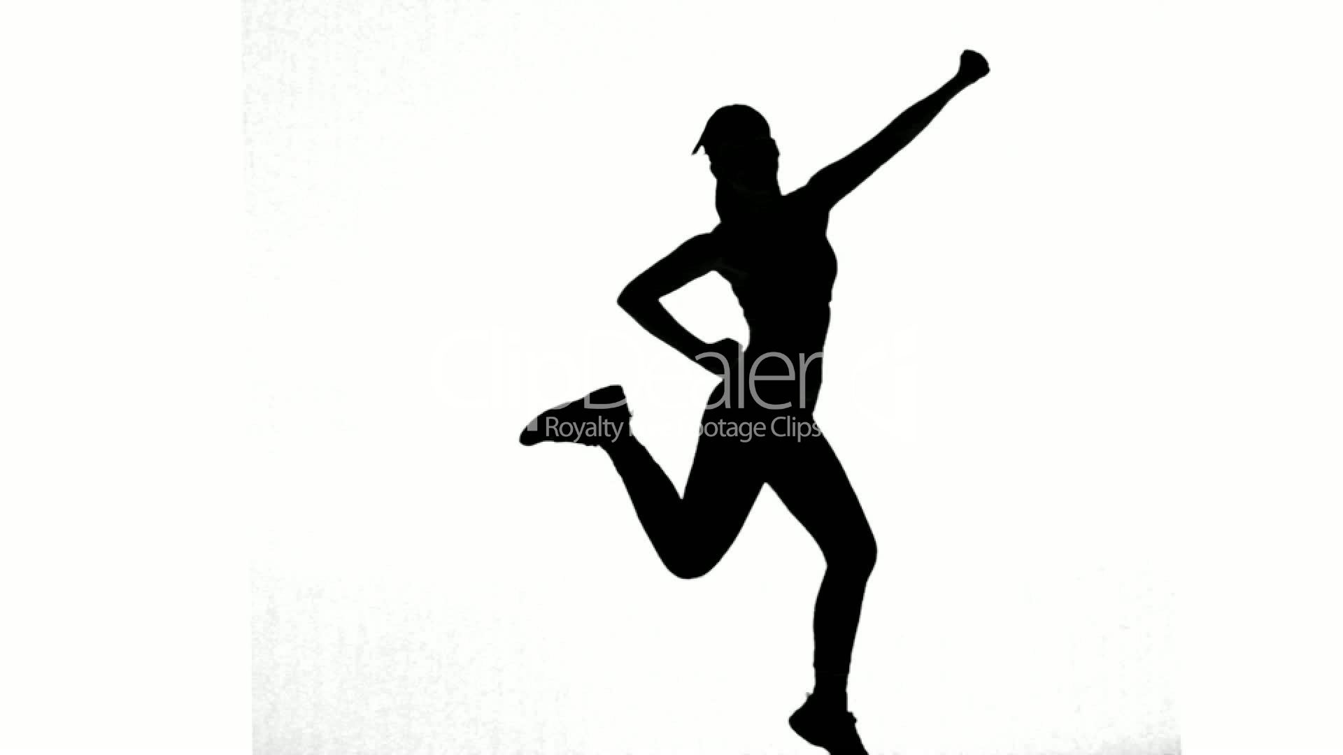 1920x1080 Silhouette Of Woman Working Out On White Background Royalty Free
