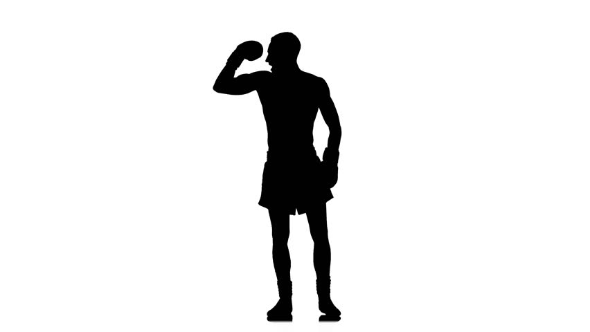 852x480 Black Silhouette On White Background. Boxer Demonstrates All His