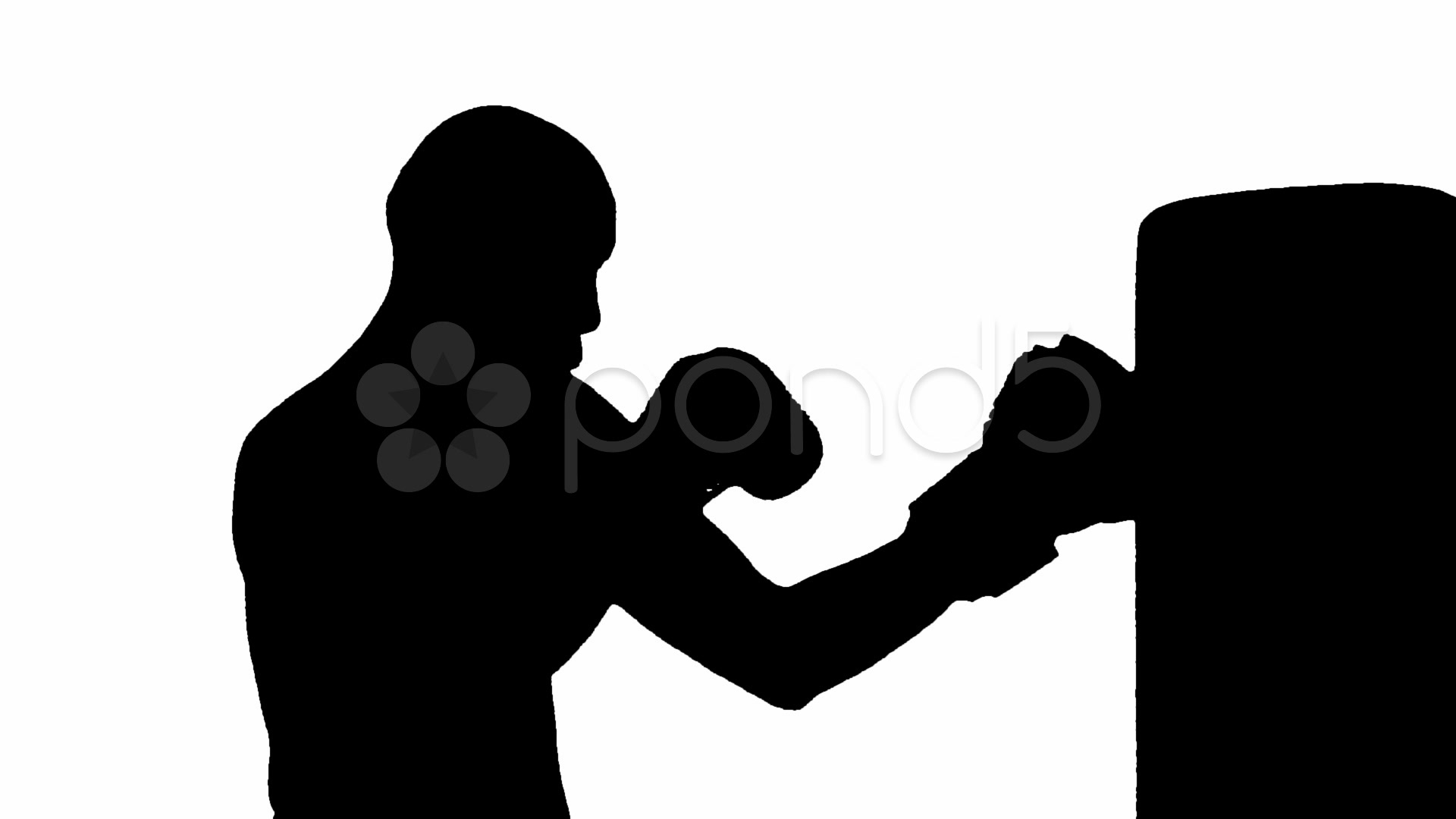 1920x1080 Boxer Working The Bag Silhouette Against White Background ~ Video