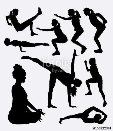432x500 Workout Female Sport Activity Silhouette. Good Use For Symbol