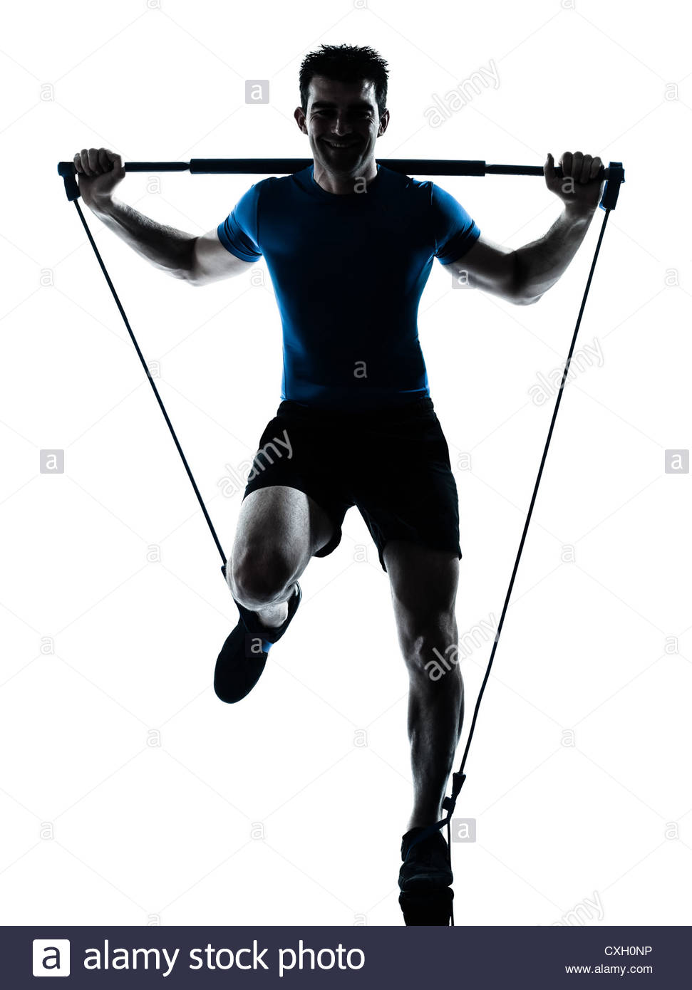 971x1390 One Caucasian Man Exercising Gymstick Workout Fitness