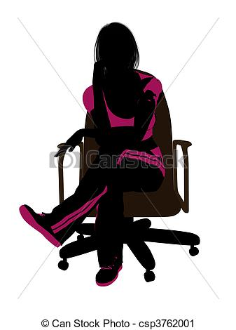 337x470 Female Workout Sitting On A Chair Silhouette. Female Workout
