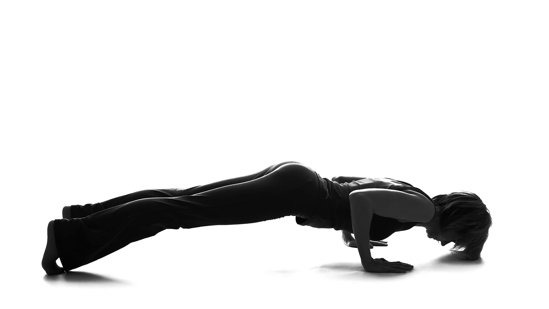 1920x1080 Fitness Woman Silhouette Practicing Yoga, Plank Exercise, Home