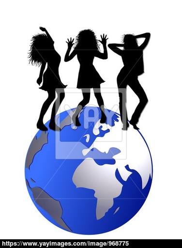 376x512 3 Girl Silhouettes Dancing On The World Globe Image