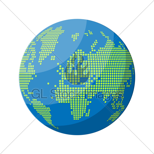 500x500 World Map Silhouette. Globe In Dots. Gl Stock Images