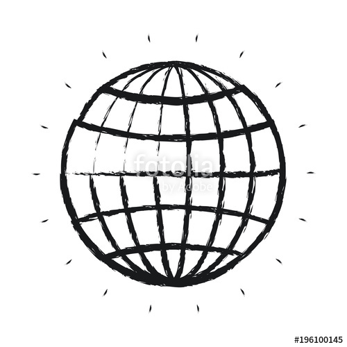 500x500 Blurred Silhouette Front View Globe Earth World Chart With Lines