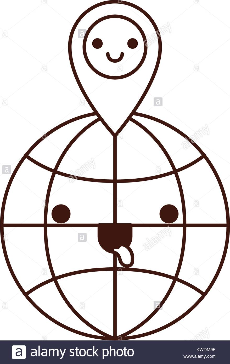 879x1390 Kawaii World Globe And Kawaii Map Pointer On Top In Monochrome