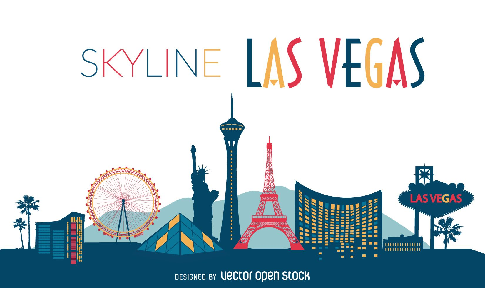 1650x980 Flat illustration featuring Las Vegas skyline with silhouettes of