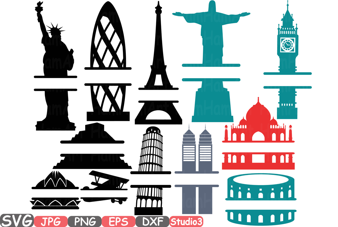 1400x938 Split World Landmarks SVG Silhouette travel City Buildings