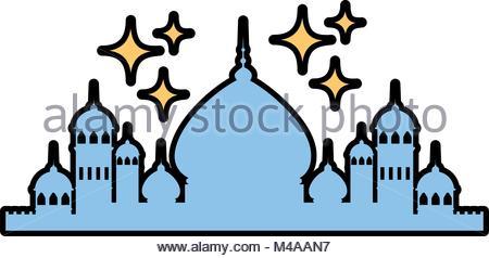 450x238 Taj Mahal Temple Landmark Silhouette. Agra, Asia, India. Vector