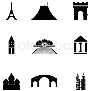 320x320 Vector black landmarks icons set on white background Stock
