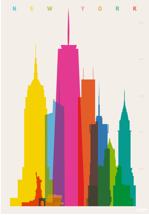 520x749 City Landmark Silhouette Illustrations by Yoni Alter