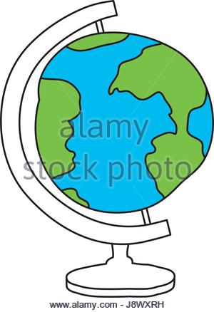 300x438 Hand Drawn Color Silhouette Of World Map Stock Vector Art