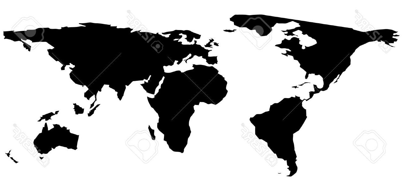 1300x617 HD Black White World Map Vector Library