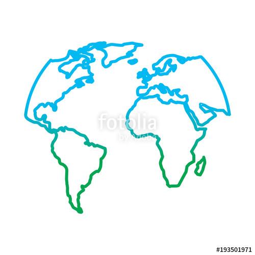 500x500 Silhouette World Map Location Planet Vector Illustration Degrade