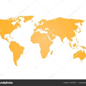 300x300 World Map Vector Simple New Orange Silhouette Of World Map Simple