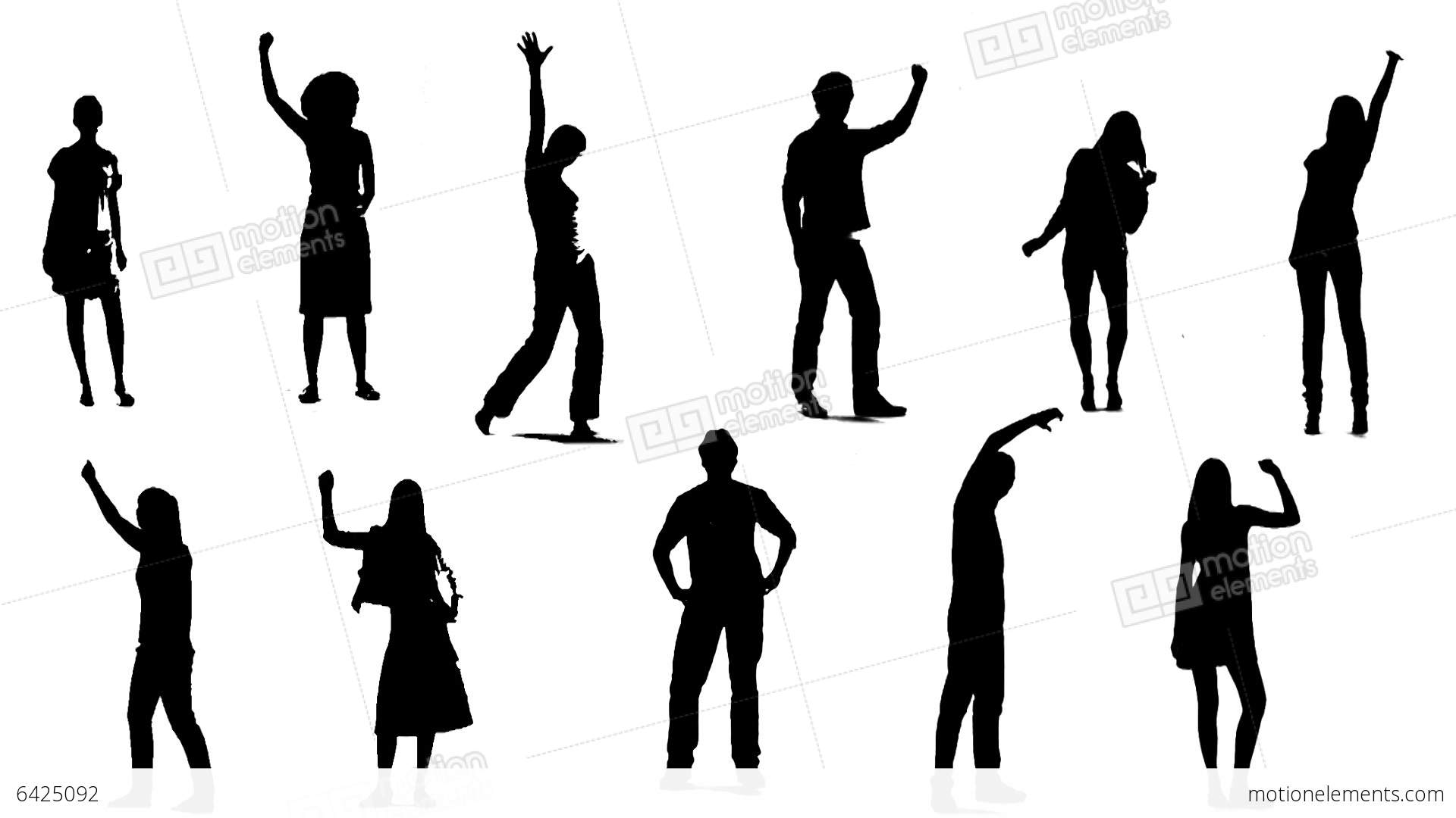 1920x1080 Silhouettes Of Young People Who Raise One Arm Up 2 Stock Animation