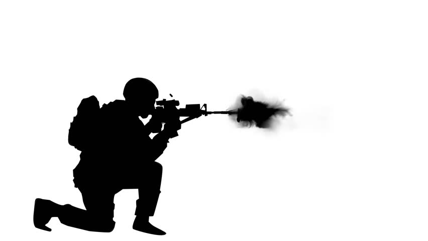 852x480 Military Man Firing M16 On White Background Animation Stock