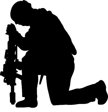 456x473 Soldier Praying Silhouette Group