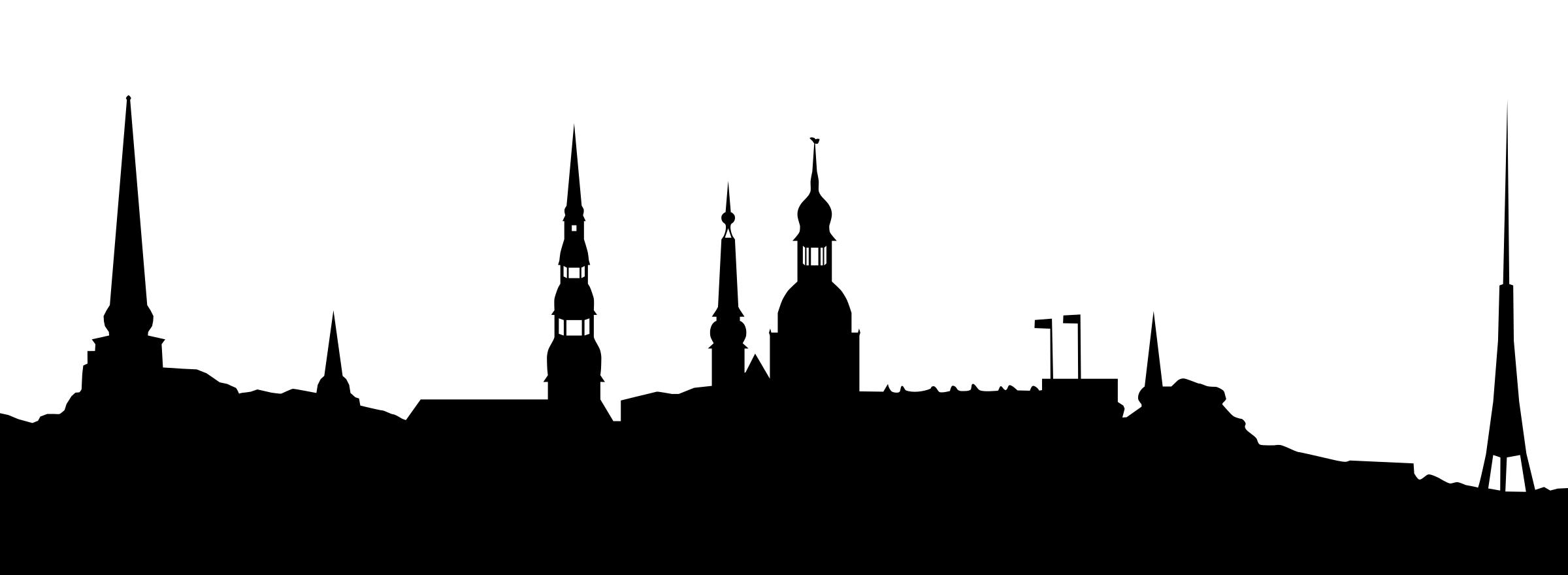 2400x880 Silhouette Of Riga Icons Png