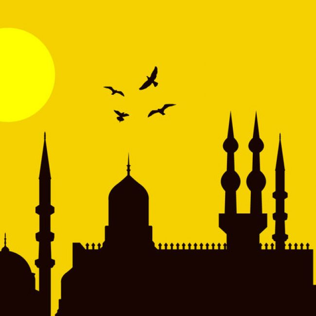 650x650 Free Vector Eid Al Fitr City Silhouette
