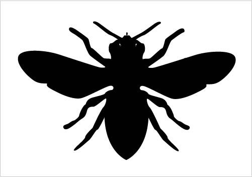 501x352 Bee Silhouette Vector Clipart In Black And White Vector Format