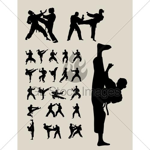 500x500 Jiu Jitsu And Judo Wrestlers Silhouettes Gl Stock Images